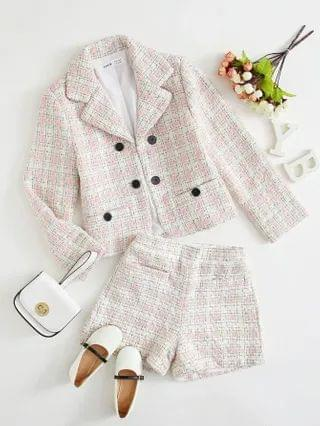 KIDS Notch Collar Double Button Tweed Blazer and Shorts Set