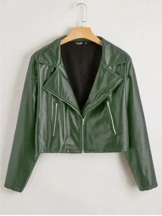 WOMEN Plus Solid Zip Up PU Leather Moto Jacket