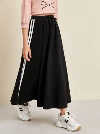 KIDS Knot Waist Side Striped Skirt