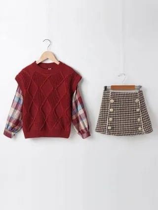 KIDS Contrast Plaid Sleeve Sweater & Double Button Houndstooth Skirt