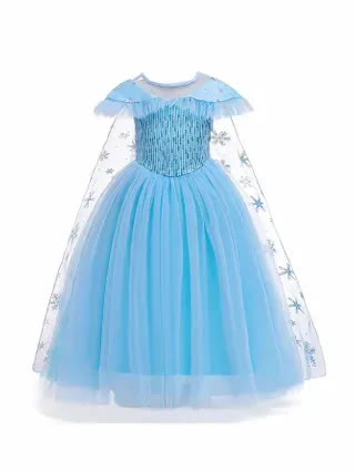 KIDS Girls Contrast Mesh Party Dress With Cape