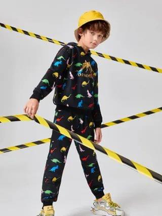KIDS Dinosaur & Letter Graphic Hoodie And Joggers Set
