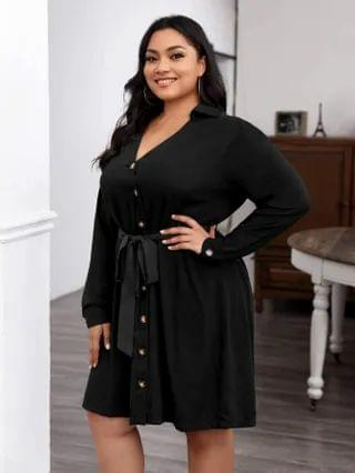 WOMEN Plus V Neck Collar Button Front Belted Dress