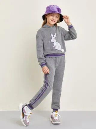 KIDS Pom Pom Detail Rabbit Embroidered Hoodie and Joggers Set