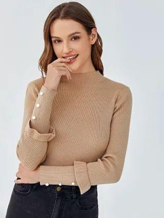 WOMEN Mock-neck Ruffle Trim Sweater