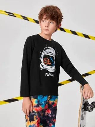 KIDS Space & Letter Print Tee