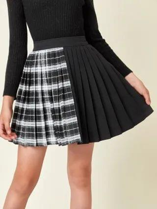KIDS Tartan Panel Pleated Skirt