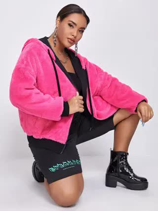 WOMEN Plus Neon Pink Contrast Trim Faux Fur Coat