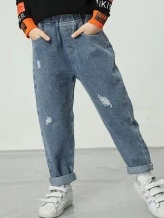 KIDS Ripped Cartoon Graphic Jeans