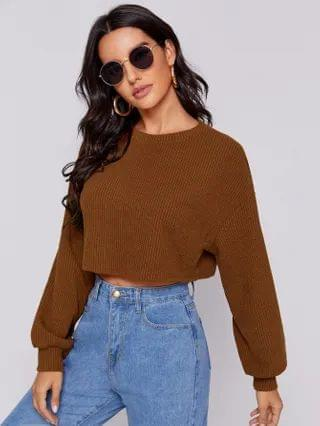 WOMEN Drop Shoulder Crop Pullover