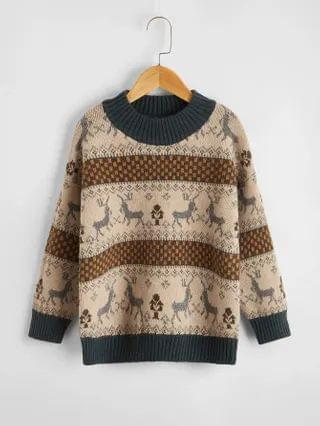 KIDS Christmas Pattern Drop Shoulder Sweater
