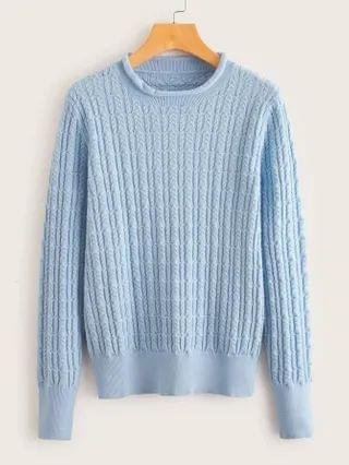 WOMEN Cable Knit Solid Sweater