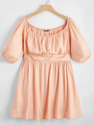 WOMEN Plus Ruched Bust A-line Dress