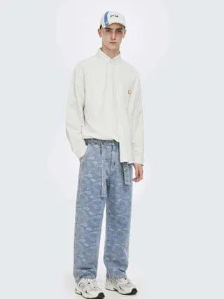 MEN Paisley Print Belted Jeans