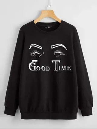 WOMEN Plus Eye And Letter Graphic Drop Shoulder Sweatshirt
