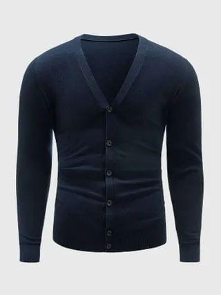 MEN Men Solid V-Neck Button Up Cardigan