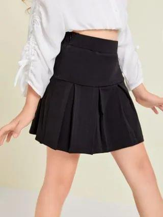 KIDS Fold Pleated Front Solid Skirt