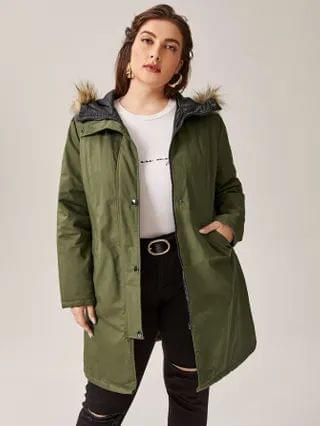 WOMEN Plus Contrast Faux Fur Pocket Parka Coat