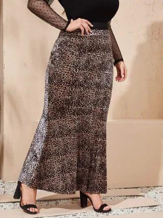 WOMEN Plus Leopard Maxi Mermaid Skirt
