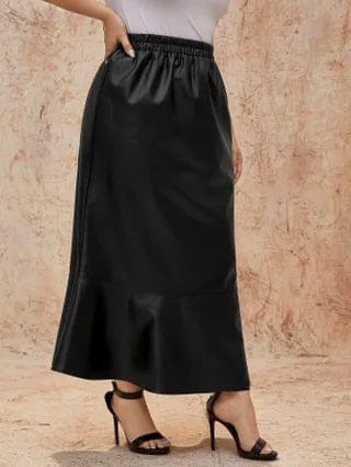 WOMEN Plus PU Ruffle Hem Maxi Skirt