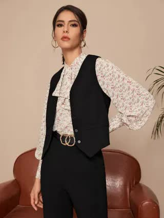 WOMEN Single Breasted Solid Suit Vest