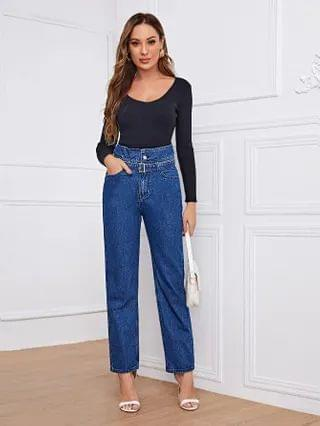 WOMEN Highest Rise Belted Straight Leg Jeans