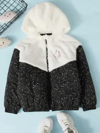 KIDS Girls Unicorn Patched Contrast Faux Fur Panel Colorblock Padded Jacket