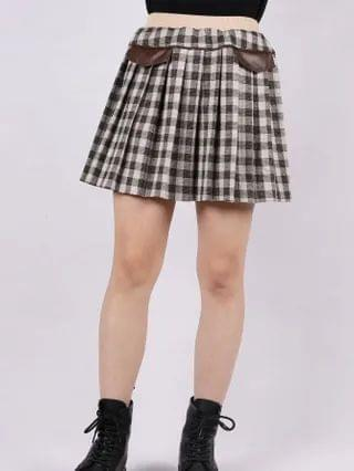 KIDS Plaid Fake Pocket Wool-mix Fabric Skirt