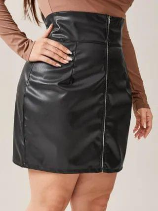 WOMEN Plus Zipper Front PU Leather Straight Skirt