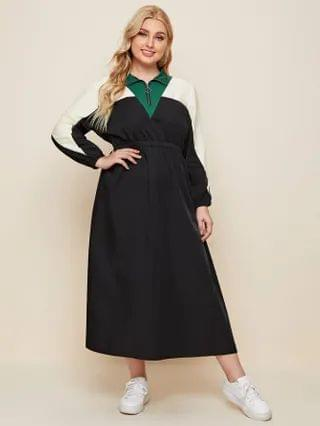 WOMEN Plus Contrast Panel Half Zip A-line Dress