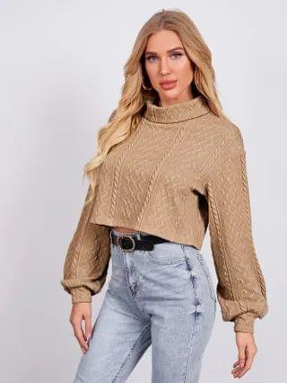 WOMEN Rolled Neck Lantern Sleeve Cable Knit Tee