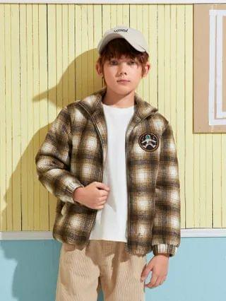 KIDS Patched Detail Plaid Puffer Jacket