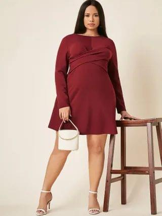 WOMEN Plus Solid Form Fitting A Line Dress