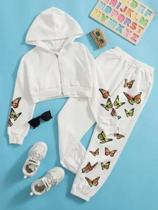 KIDS Zipper Front Butterfly Print Sweatshirt & Joggers Set