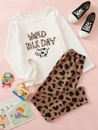 KIDS Letter And Cow Print Tee With Pants