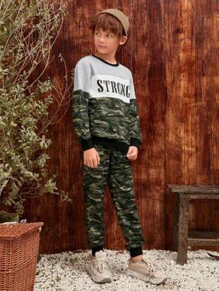 KIDS Letter Graphic Camo Panel Pullover & Joggers Set