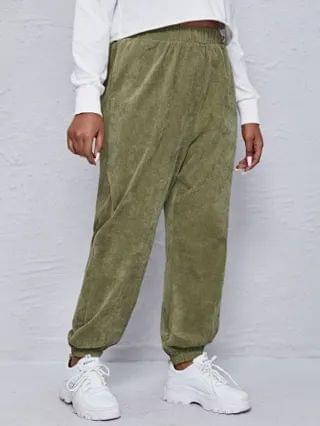 WOMEN Plus Solid Corduroy Sweatpants