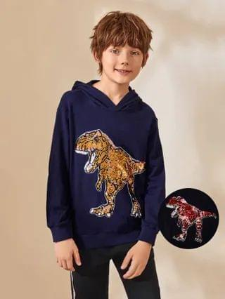 KIDS Change Color Sequin Dinosaur Patched Hoodie