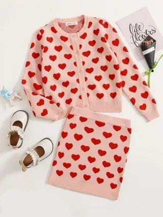 KIDS Heart Pattern Button Front Cardigan & Skirt Sweater Set