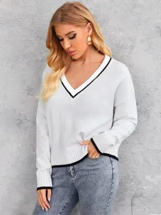 WOMEN Drop Shoulder V Neck Sweater