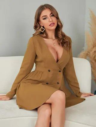 WOMEN Deep V Neck Double Breasted Dress