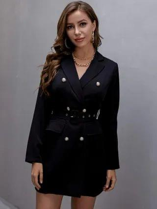 WOMEN Double Breasted Lapel Collar Belted Blazer Dress