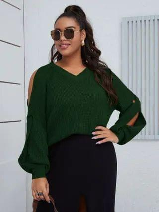 WOMEN Plus Cold Shoulder Twist Sweater