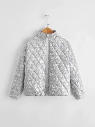KIDS Zip Up Allover Letter Graphic Quilted Jacket