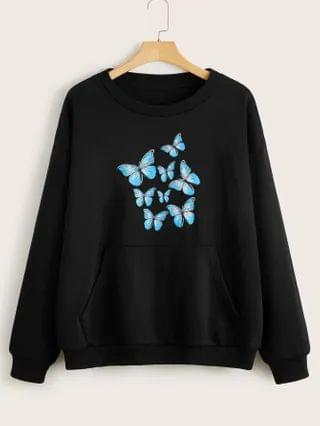 WOMEN Plus Butterfly Print Kangaroo Pocket Sweatshirt