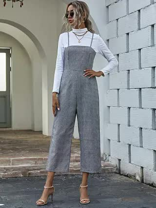 WOMEN Plaid Wide Leg Cami Jumpsuit Without Tee