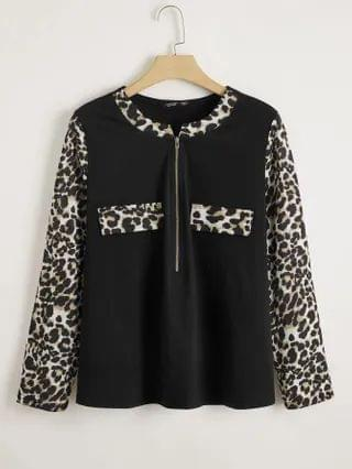 WOMEN Plus Zip Half Contrast Leopard Panel Top