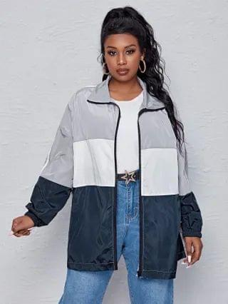 WOMEN Plus Zip Up Color Block Windbreaker Jacket