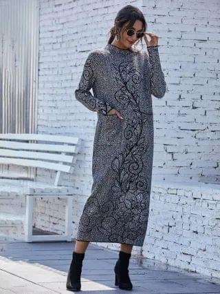 WOMEN Dual Pocket Floral Print Longline Sweater Dress