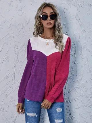 WOMEN Drop Shoulder Colorblock Waffle Knit Tee